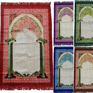 Super Soft Islamic Velvet Prayer Mat Floral Jannamaz Musallah Turkish