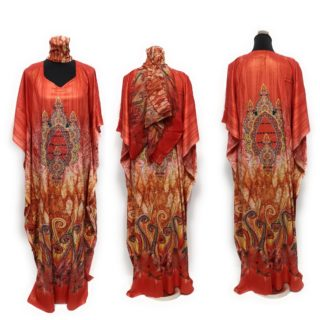 Loose Fit Kaftan Tunic Holiday Dress Beach Cover up Dubai Orange Red Habibi Collections