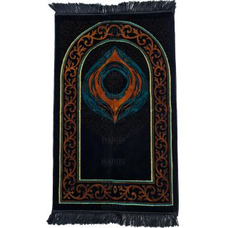 Luxury Soft Islamic Kaba Black Stone Prayer Mat Gold Black Grey by Saffa Hajar Aswad