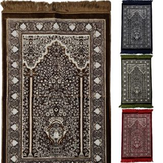 Super Soft Islamic Prayer Mat Vase Floral Jannamaz Musallah Turkish