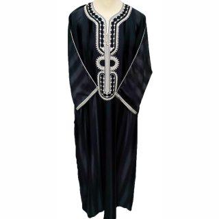 Moroccan Black Striped 3-Quarter Sleeve Thobe