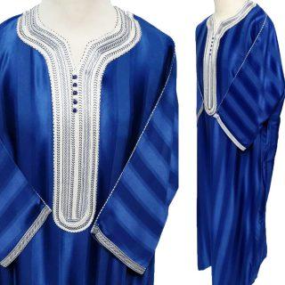 Moroccan Royal Blue 3-Quarter Sleeve Thobe