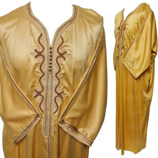 M3qs 001 Habibicollections Mens Moroccan 3 Quarter Sleeve Gold Patterned Jubba Thobe 115449