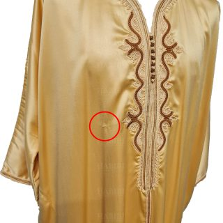 M3qs 001 Habibicollections Mens Moroccan 3 Quarter Sleeve Gold Patterned Jubba Thobe 11553