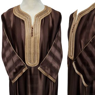 M3qs 011 Habibicollections Mens Moroccan 3 Quarter Sleeve Patterned Jubba Thobe 124312