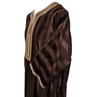 M3qs 011 Habibicollections Mens Moroccan 3 Quarter Sleeve Patterned Jubba Thobe 124335