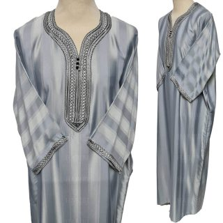 M3qs 012 Habibicollections Mens Moroccan 3 Quarter Sleeve Patterned Jubba Thobe 124506