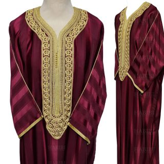 M3qs 013 Habibicollections Mens Moroccan 3 Quarter Sleeve Patterned Jubba Thobe 124635