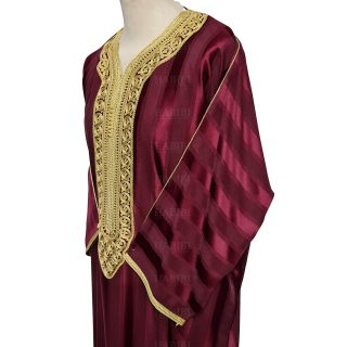 M3qs 013 Habibicollections Mens Moroccan 3 Quarter Sleeve Patterned Jubba Thobe 124641