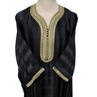 M3qs 014 Habibicollections Mens Moroccan 3 Quarter Sleeve Patterned Jubba Thobe 124834