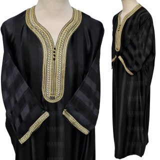 M3qs 014 Habibicollections Mens Moroccan 3 Quarter Sleeve Patterned Jubba Thobe 124843