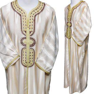 Moroccan 3-Quarter Sleeve Beige Thobe