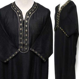 Moroccan Rich Cotton Black/Gold 3-Quarter Sleeve Thobe
