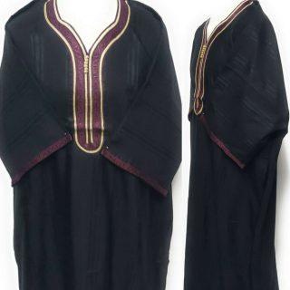 Moroccan 3/4 Sleeve Poly-Cotton Black/Burgundy Thobe