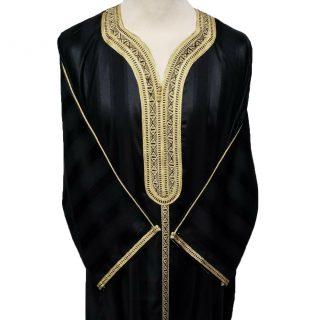 Moroccan Cotton 3/4 Sleeve Black & Gold Thobe