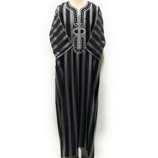 Moroccan 3/4 Sleeve Black/Grey Striped Thobe