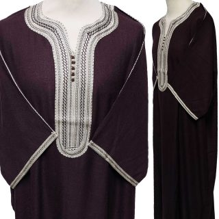 Moroccan Rich Cotton 3-Quarter Sleeve Brown/Off-White Thobe