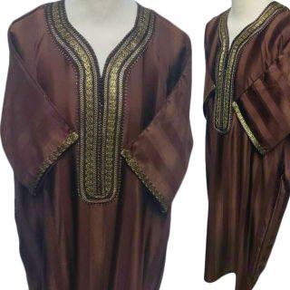 Moroccan 3/4 Sleeve Brown/Gold Thobe