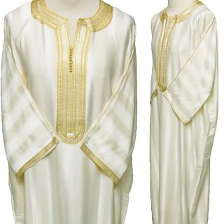 Moroccan 3-Quarter Sleeve Cream/Gold Thobe