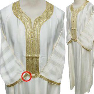 Moroccan 3/4 Sleeve Cream/Gold Cotton Blend Thobe