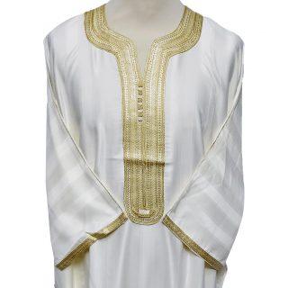 Moroccan 3/4 Sleeve Cream Gold Cotton Blend Thobe