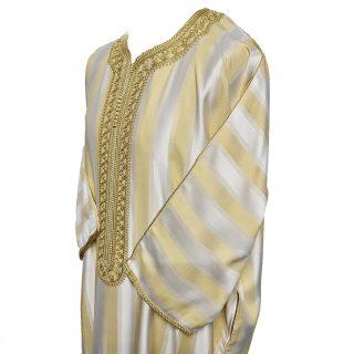 Men's Moroccan 3-Quarter Sleeve Gold Beige Thobe