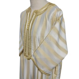 Men's Moroccan 3-Quarter Sleeve Gold Beige Striped Thobe Jubba