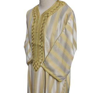 Men's Moroccan 3-Quarter Sleeve Striped Gold Beige Jubba Thobe