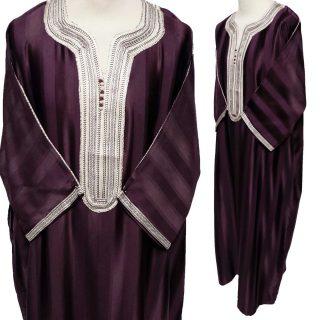 Moroccan Dark Maroon Rich Cotton 3-Quarter Sleeve Thobe