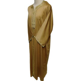 Moroccan 3/4 Sleeve Cotton Blend Gold Thobe