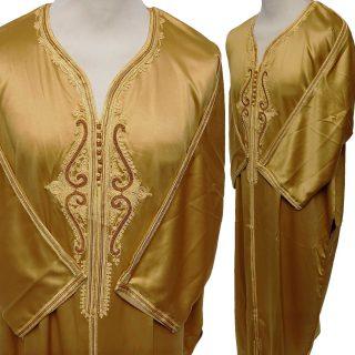 Moroccan Soft-Feel Cotton Blend Gold 3-Quarter Sleeve Thobe