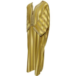 Moroccan 3-Quarter Sleeve Gold Thobe