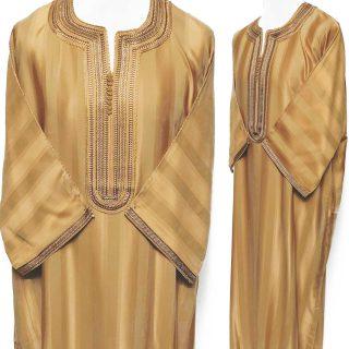 Moroccan 3-Quarter Sleeve Cotton Blend Gold Thobe