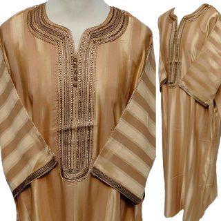 Moroccan 3/4 Sleeve Gold/Orange Cotton Blend Thobe