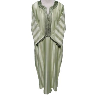 Moroccan Rich Cotton Green Striped 3-Quarter Sleeve Thobe