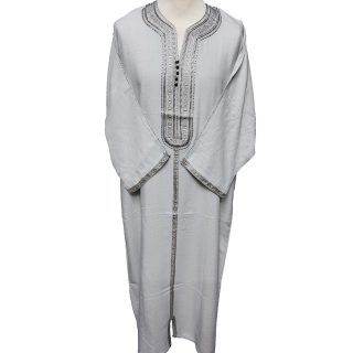 Moroccan Grey Rich Cotton 3-Quarter Sleeve Thobe