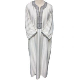 Moroccan 3/4 Sleeve Off-White/Grey Thobe