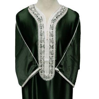 Moroccan Soft-Feel Cotton Blend 3-Quarter Sleeve Olive Green Thobe