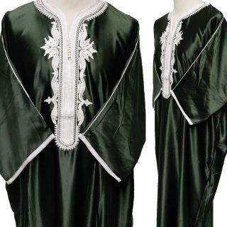 Moroccan Soft-Feel Cotton Blend 3-Quarter Sleeve Black Thobe