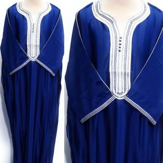 Moroccan Summer 3-Quarter Sleeve Royal Blue Thobe