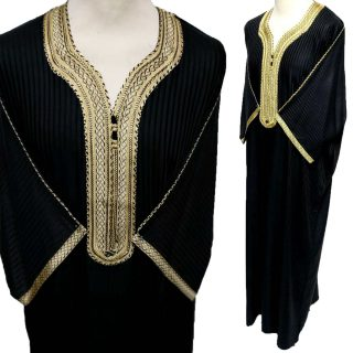 Moroccan 3/4 Sleeve Cotton Black & Gold Thobe