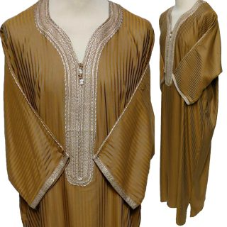 Moroccan 3/4 Sleeve Cotton Blend Striped Gold Thobe