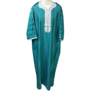 Moroccan 3/4 Sleeve Thobe Turquoise/White