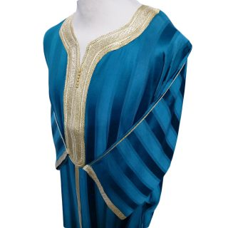 Moroccan 3/4 Sleeve Wide-Fit Turquoise Thobe