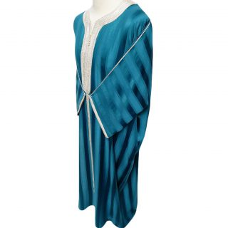 Moroccan 3/4 Sleeve Wide-Fit Turquoise/Off-White Thobe