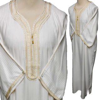 Moroccan 3/4 Sleeve Cotton Blend Cream Thobe