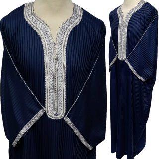 Moroccan 3/4 Sleeve Cotton Blend Navy Thobe