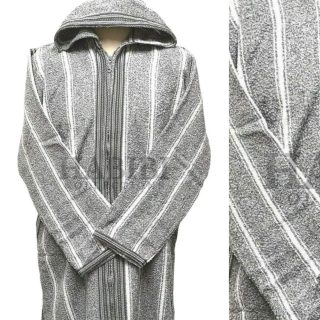 Men's Moroccan Hooded Wool Winter Baja Jerga Jacket Striped Grey/White
