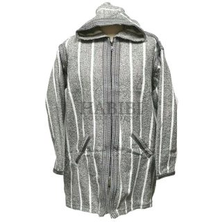 Men's Moroccan Hooded Wool Winter Baja Jerga Jacket Grey/White Striped