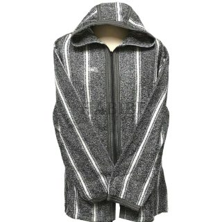 Men's Moroccan Hooded Wool Winter Baja Jerga Jacket Dark Grey/White Striped